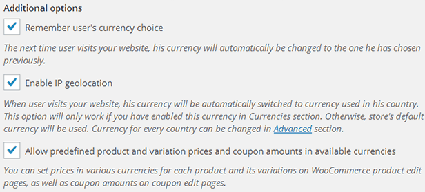 WooCommerce Ultimate Multi Currency Suite - additional options